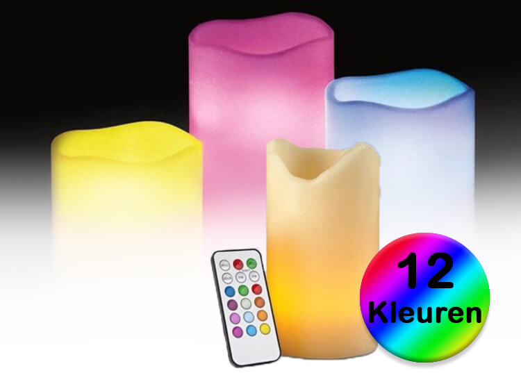 Led kaarsen RGB 3 stuks - Geven licht in 12 mogelijke kleuren