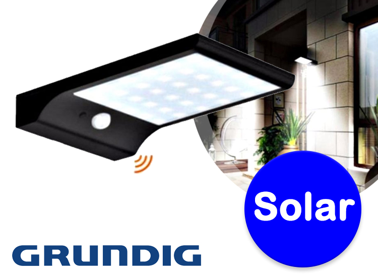 Wandlamp met bewegingssensordeze mooie grundig solar wandlamp, is een buitenlamp met een bewegingssensor. ...